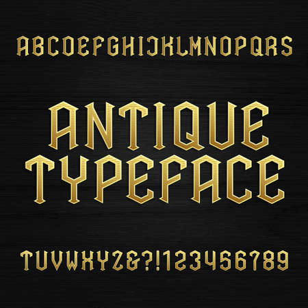 alphabet beer: Antique alphabet vector font. Type letters symbols and numbers on a wooden background. Vintage vector alphabet for labels, headlines, posters etc. Illustration