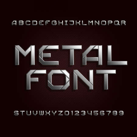 tough: Metal alphabet font. Chrome effect letters and numbers on a dark backround. Tough vector typeset for your design. Illustration