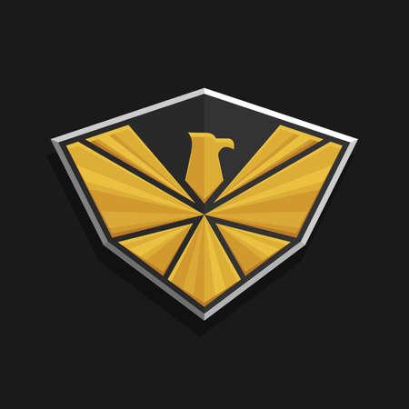 aguila real: Águila icono del logotipo del diseño. águila estilizada extiende sus alas en un escudo. El color de oro y plata sobre un fondo oscuro. emblema Stock Vector.