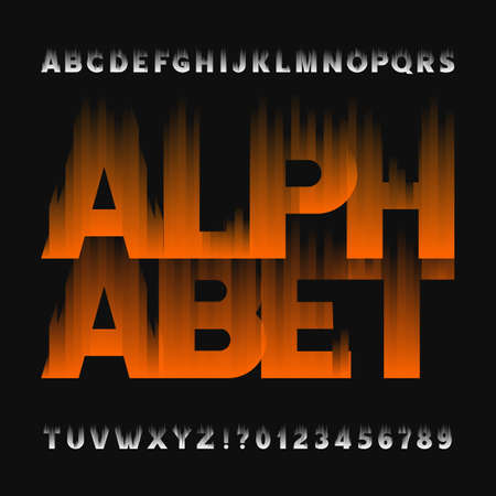 flame letters: Abstract flame alphabet font. Type letters and numbers on a dark background. Vector typeface for your design.