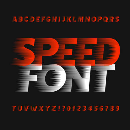 Speed ??alphabet font. Wind effect type letters and numbers on a dark background. Vector typeface for your design. Ilustracja
