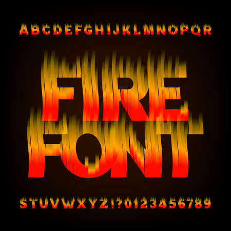 flame letters: Abstract fire alphabet font. Flame effect letters and numbers on a dark background. Vector typeface for your design.