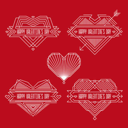Happy Valentines Day Badges Frames In Outline Style Valentine S