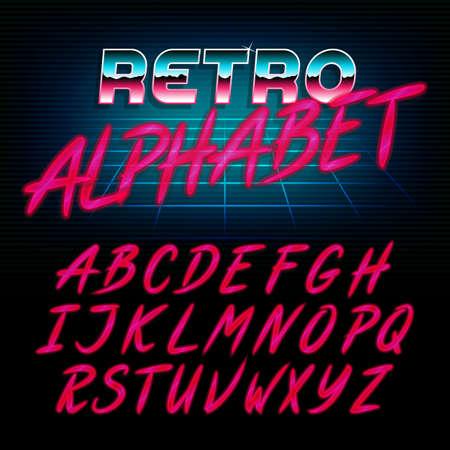 80's retro alfabet lettertype. Glow effect glimmende letters. Vector lettertype voor flyers, koppen, posters etc. Stock Illustratie