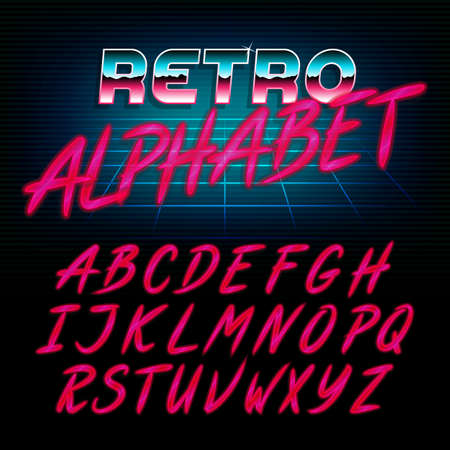 80s retro alphabet font. Glow effect shiny letters. Vector typeface for flyers, headlines, posters etc.