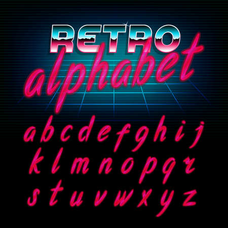 80s: 80s retro alphabet font. Glow effect shiny lowercase letters. Vector typeface for flyers, headlines, posters etc.