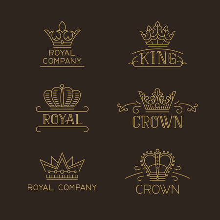 Crown logo set. Luxury signs in trendy outline style. Vector illustration for hotel, restaurant, boutique, invitation, jewellery, etc.  イラスト・ベクター素材