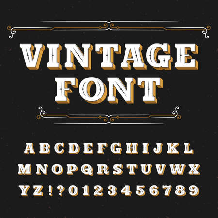 retro font: Vintage alphabet font. Ornate letters for labels, headlines, posters on a distressed background. Stock vector typeface for your design.