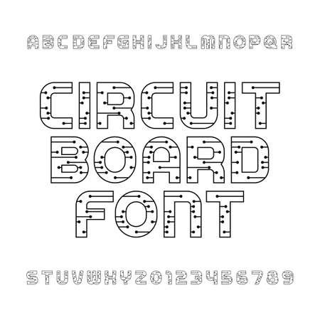 Circuit board police. Vector Alphabet. Numérique salut-technologie des lettres et des numéros de style. Une couleur. Vecteurs