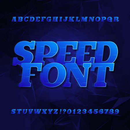 Speed ??alphabet vector font. Oblique slab serif letters and numbers. Blue color on a dark polygonal background. Vector typeface for your design.