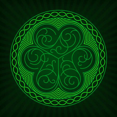 paddys: Stylized image of shamrock in outline style with celtic ornament on a green background. Illustration