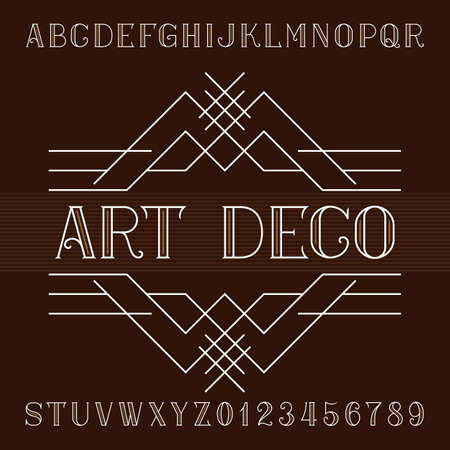 Art deco alphabet vector font in outline style. Serif type letters and numbers. Stock vector typeface for your design. Illustration