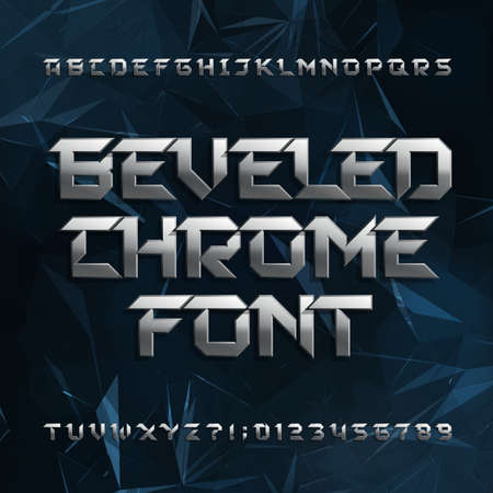 abstract letters: Beveled metal alphabet font.Effect letters and numbers on abstract polygonal background. Stock typeface for your design. Illustration