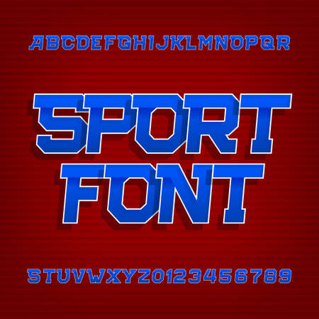 beveled: Sport alphabet vector font. Retro style typeface for labels, titles, posters or sportswear. Type letters and numbers on a red background.