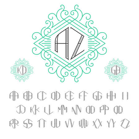 style template: Two letters monogram template in outline style.