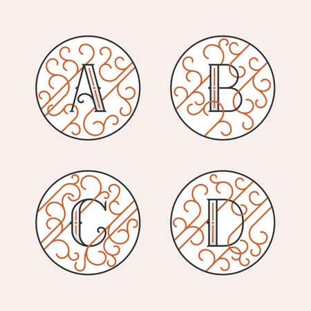 initial: Decorative Initial Letters A, B, C, D. Luxury ornate monogram emblems in outline style. Vector illustration.