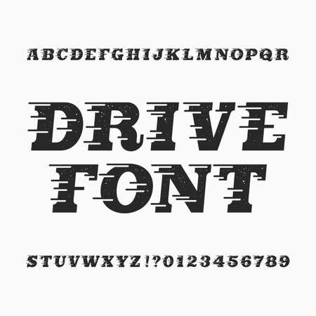 Drive alfabet vector lettertype. Windeffect type letters en cijfers. Vintage noodlijdende vector lettertype voor uw ontwerp.