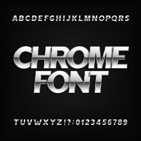 serif: Chrome alphabet font. Metallic effect sans serif letters and numbers on a dark background. Stock vector typography for your design.