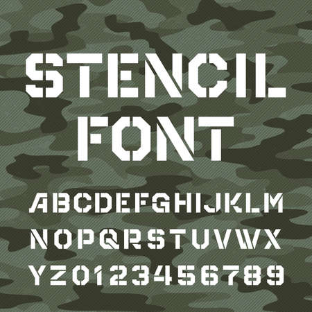 Stencil alphabet font. Type letters and numbers on distressed camo background. Vector typography for your design. 矢量图像