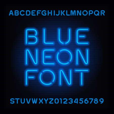 Neon buis alfabet lettertype. Blauwe kleur letters en cijfers. Vector typografie voor krantenkoppen, posters, enz. Stock Illustratie