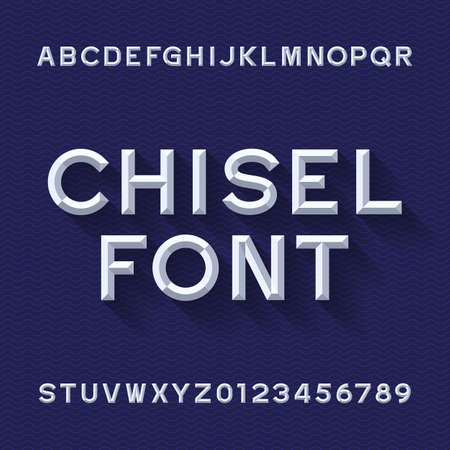 Chisel Alphabet Vector Font. Type letters and numbers. Blue wave background. Chiseled block typeface for your design. Illustration