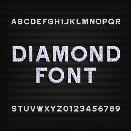 diamond letters: Diamond alphabet font. Brilliant letters symbols and numbers. Stock vector typeface for your design.