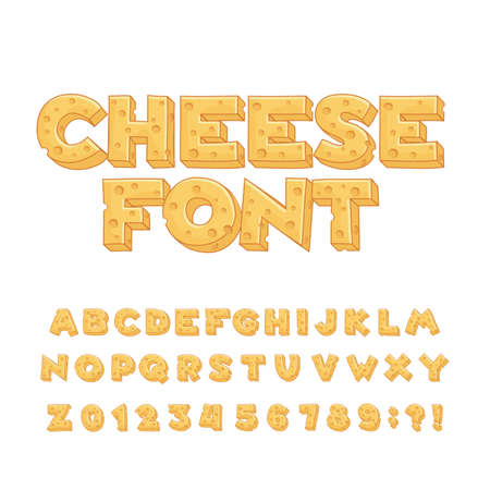Cartoon cheese alphabet font. Type letters, numbers, symbols. Stock vector typeface for your design.