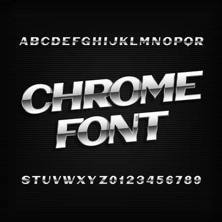 metal letters: Chrome alphabet font. Metal effect letters and numbers on a dark background. Stock vector typeset for your design. Illustration