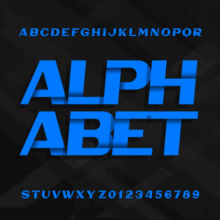Abstract alphabet font. Effect type letters and numbers. Vector typeface for your design.