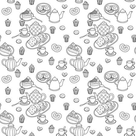 one color: Sweets, teapots and bakery hand drawn pattern. One color. Vector seamless background.