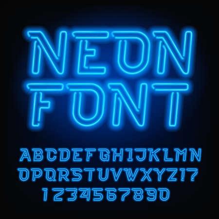 Neon buis alfabet lettertype. Blauwe kleur schuine letters en cijfers. Vector typografie voor krantenkoppen, posters, enz.