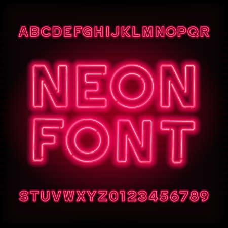 Neon buis alfabet lettertype. Rode kleur letters en cijfers. Vector lettertype voor krantenkoppen, posters, enz.