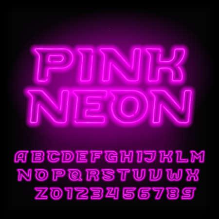 Neon buis alfabet lettertype. Roze kleur letters en cijfers. Schuine vector lettertype voor krantenkoppen, posters, enz.