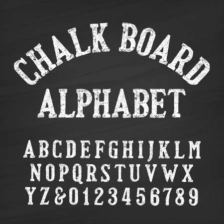 Hand drawn chalk board alphabet font. Vintage letters and numbers on a distressed background. Retro vector type for your design.