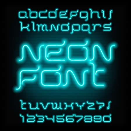 Neon buis alfabet lettertype. Typ letters en cijfers. Futuristische vector typografie voor krantenkoppen, posters, enz.