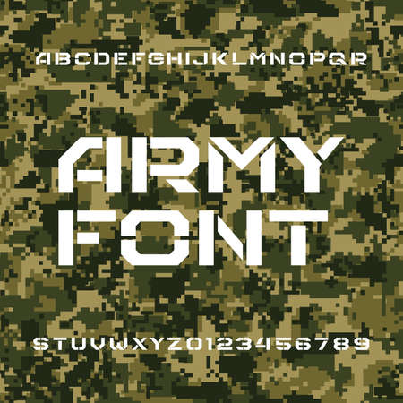 Army alphabet font. Stencil type letters and numbers on a seamless pixel camo background. Vector typography for your design.