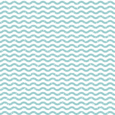 Abstract wavy seamless background. Blue distressed vector endless pattern. Illustration