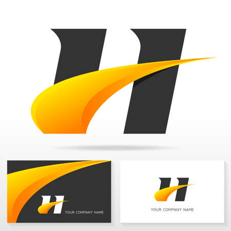 typescript: Letter H logo design and business card templates. Vector illustration. Illustration