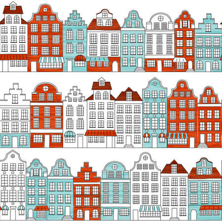 Seamless pattern with townhouses in european style. Hand drawn houses. Endless background. Retro color.