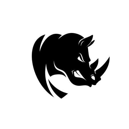 Logotipo ou ícone da cabeça de rinoceronte em cor preto e branco. O rinoceronte descobre seus dentes. Ilustração vetorial em estoque.