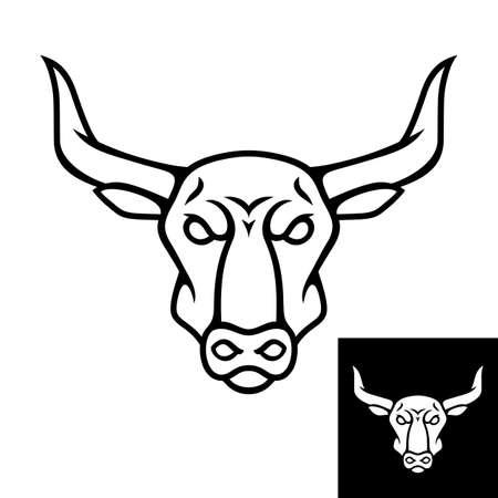 Bull head  icon. Black color. Inversion version included. Stock vector illustration  イラスト・ベクター素材