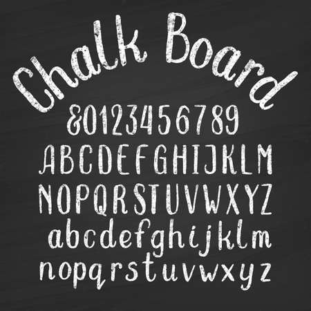 Hand drawn chalk board alphabet font. Upper and lower case letters and numbers on a distressed background. Retro vector type for your design. Illustration