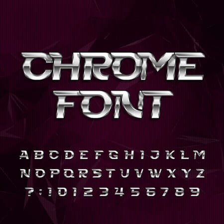 Chrome alphabet font. Metallic effect italic letters and numbers on a dark polygonal background. Stock vector typography for your design. Иллюстрация