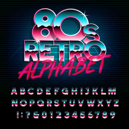 80's retro alphabet font. Metallic effect type letters and numbers. Vector typeface for your design.