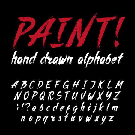 손으로 그려 서 예 브러쉬 획 알파벳입니다. 그런 지 스타일 문자와 숫자입니다. 디자인을위한 주식 벡터 글꼴