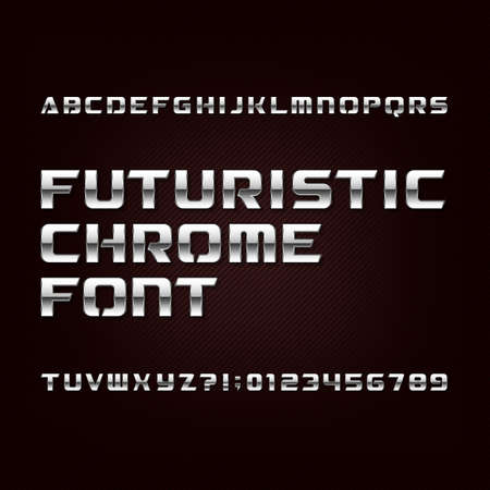 Futuristic chrome alphabet font. Metallic effect letters and numbers on a dark background. Stock vector typeface for your design.