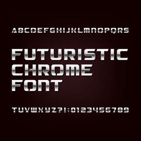 Futurystyczna chromowana czcionka alfabetu. Litery i cyfry z efektem metalicznym na ciemnym tle. Krój pisma wektorowego do projektowania.