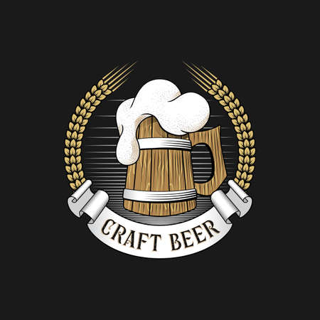 Wooden mug of beer with barley ears. Craft brewery logo. Stock vector illustration.
