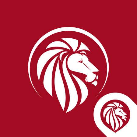 ライオン ヘッドのロゴ エンブレムまたは 1 つの色のアイコン。反転バージョンが含まれています。株式ベクトル イラスト。  イラスト・ベクター素材