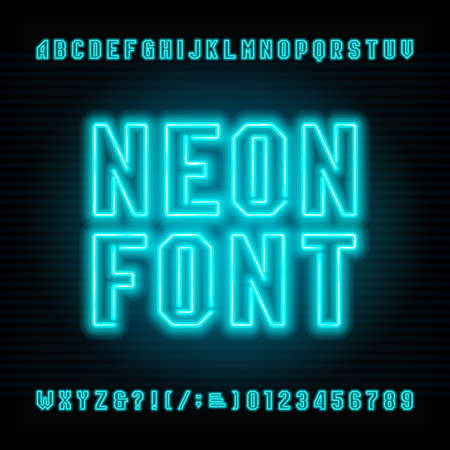 Neon buis alfabet lettertype. Neon kleur letters en cijfers.